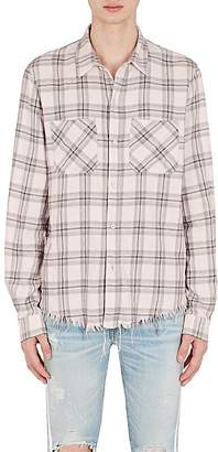 Amiri Men's Faded Plaid Cotton-Cashmere Flannel Shirt