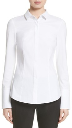 Women's Lafayette 148 New York Azra Jersey Sleeve Blouse $248 thestylecure.com