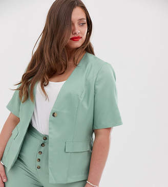 In The Style Plus x Laura Jade short sleeve single breasted blazer in green