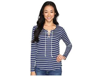 NYDJ Petite Petite French Terry Lace-Up Top Women's Clothing