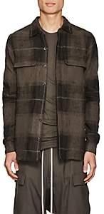 """Rick Owens Men's """"Dirt"""" Plaid Linen-Camel Hair Flannel Shirt - Gray"""