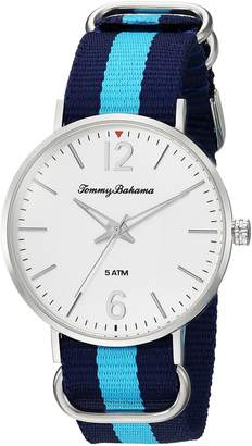 Tommy Bahama Men's Casual Stainless Steel Case and Blue Multi-Colored Canvas Strap Watch (Model:TB00017-03)