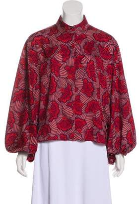 Alexis Floral Print Pointed Collar Top