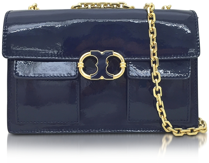 Tory BurchTory Burch Gemini Link Royal Navy Patent Leather Chain Shoulder Bag