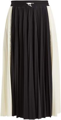 Valentino High-rise paneled pleated jersey midi skirt