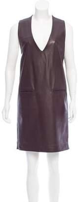 Maison Margiela Leather & Wool Shift Dress