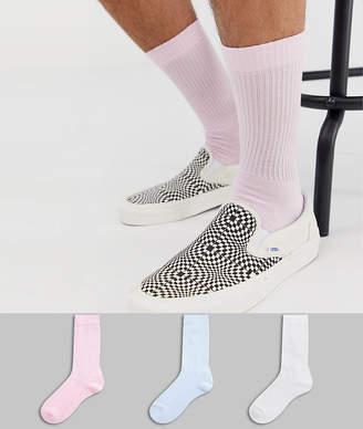 Asos Design DESIGN 3 pack sport sock in pastel color save