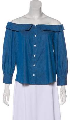 Veronica Beard Off-The-Shoulder Button-Up Top