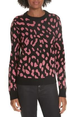 Alice + Olivia Chia Leopard Jacquard Pullover Sweater