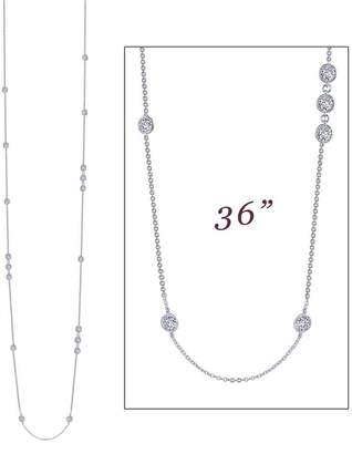 Lafonn Classic Sterling Silver Platinum Plated Lassire Simulated Diamond Necklace (6.48 CTTW)