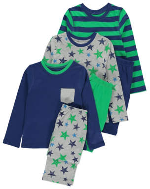 Assorted Printed Pyjamas 3 Pack