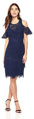 Laundry by Shelli Segal Women's Cold Shoulder Lace Cocktail Dress