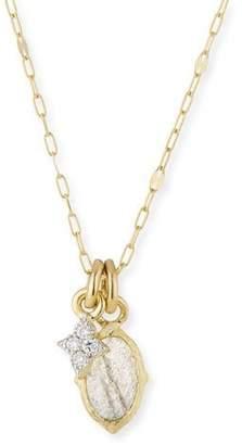 Jude Frances 18k Moroccan Tiny Double Pendant Necklace with Labradorite & Diamond