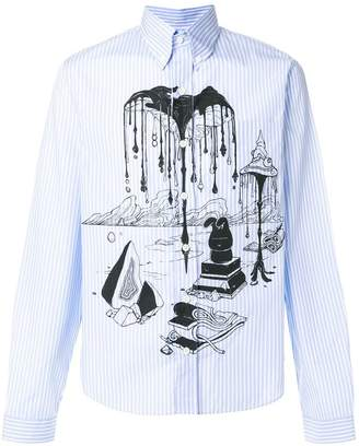 Prada illustrated print striped buttondown shirt