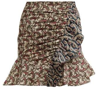 Etoile Isabel Marant Loz Patchwork Print Cotton Mini Skirt - Womens - Pink Multi