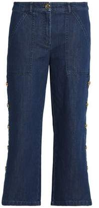 Michael Kors Cropped Button-Detailed High-Rise Straight-Leg Jeans