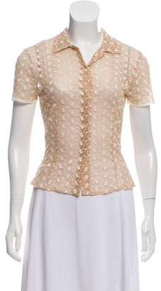 Blumarine Sheer Short Sleeve Button-Down