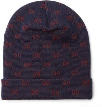 Gucci Logo-Jacquard Alpaca and Wool-Blend Beanie - Navy