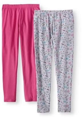 Pink Velvet Printed and Solid Leggings, 2-Pack (Little Girls & Big Girls)