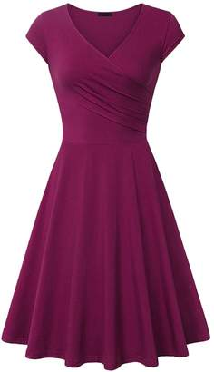 Amstt Women's Casual A Line Cap Sleeve Elegant Slim Fit Flare Cocktail Dress V Neck (XXL, )