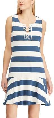 Chaps Women's Striped Lace Up Drop-Waist Dress