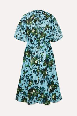 Erdem Margo Floral-print Satin Midi Dress - Blue