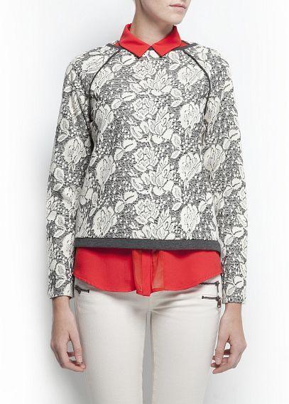 MANGO Floral oversized sweatshirt