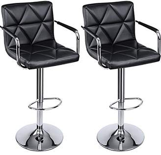 SONGMICS Adjustable Bar Stools with Arms and Back PU Swivel Barstool Chairs
