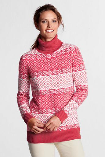 Lands' End Women's Regular Fair Isle Wool Blend Turtleneck Tunic