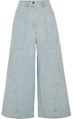 Ulla Johnson Giada Cropped Striped High-rise Wide-leg Jeans - Mid denim
