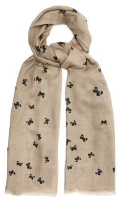 Bottega Veneta Butterfly Print Wool Scarf - Womens - Beige Print