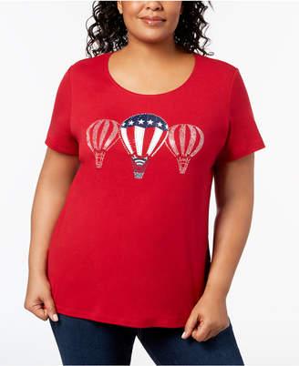 Karen Scott Plus Size Cotton Graphic T-Shirt, Created for Macy's