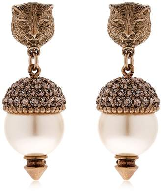 Gucci Imitation Pearls & Crystal Earrings