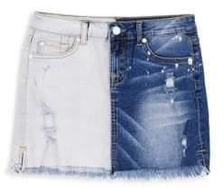 7 For All Mankind Girl's Two-Tone Denim Mini Skirt