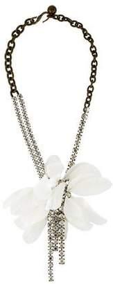 Lanvin Silk Flower & Crystal Choker Necklace