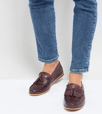 Silver Street Wide Fit Tassel Loafer In Burgundy Leather