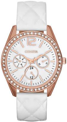 GENEVA Womens Crystal-Accent Quilted Strap Boyfriend Watch