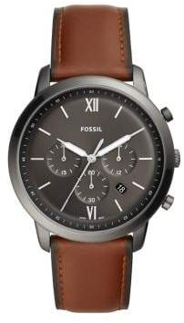 Fossil Neutra Chronograph Stainless Steel & Leather-Strap Watch