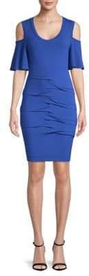 Nicole Miller Tuck Cold-Shoulder Dress