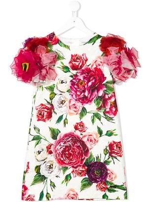 Dolce & Gabbana embellished rose-print dress