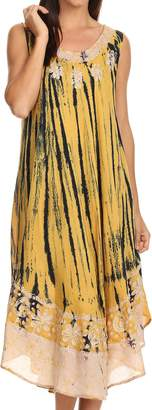 Sakkas 15009 - Alexis Embroidered Long Sleeveless Floral Caftan Dress/Cover Up - OS