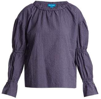 MiH Jeans Long Sleeved Gingham Cotton Blend Top - Womens - Purple Multi