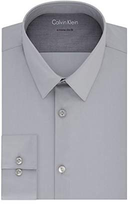Calvin Klein Mens Dress Shirts Xtreme Slim Fit Solid Thermal Stretch Point Collar