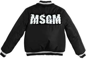 MSGM Sequin Logo Nylon Padded Bomber Jacket