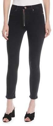Hudson Barbara High-Rise Super Skinny-Leg Ankle Jeans w/ Exposed Zip