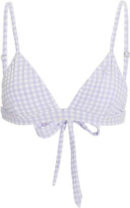 Ganni Triangle Seersucker Bikini Top
