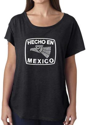 LOS ANGELES POP ART Los Angeles Pop Art Women's Loose Fit Dolman Cut Word Art Shirt - HECHO EN MEXICO