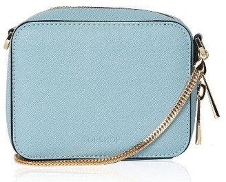 Topshop By Ona Boxy Faux Leather Crossbody Bag - Blue $40 thestylecure.com
