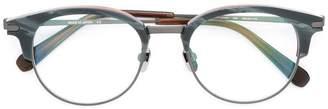 Brioni round frame brim glasses