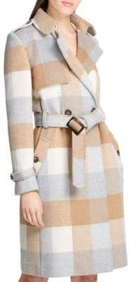DKNY Plaid Wool-Blend Belted Trench Coat